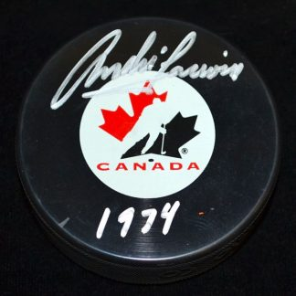 Team Canada Andre Lacroix Autographed Puck