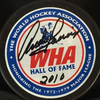 WHA Hall of Famer Andre Lacroix Autographed Puck
