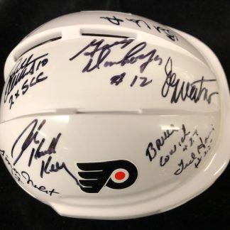 Philadelphia Flyers Multi 9 Player Autographed Mini Helmet