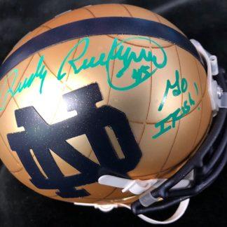 Notre Dame Fighting Irish Rudy Ruettinger Autographed Throwback Mini Helmet