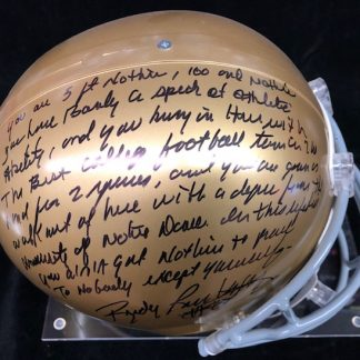 Notre Dame Fighting Irish Rudy Ruettiger Autographed Full Size Helmet