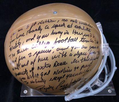 Notre Dame Fighting Irish Rudy Ruettiger Autographed Full Size Helmet