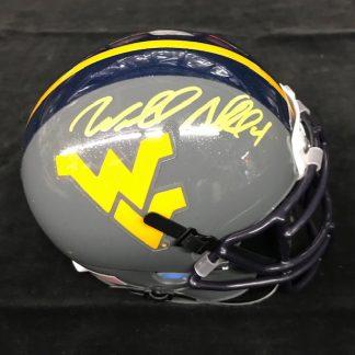 West Virgina Mountaineers Wendell Smallwood Autographed Gray Mini Helmet