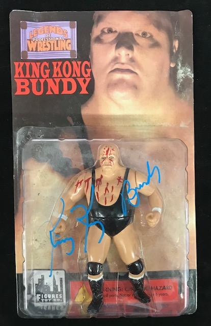 WWF King Kong Bundy Autographed Legends of Wrestling Figure Blood Variant
