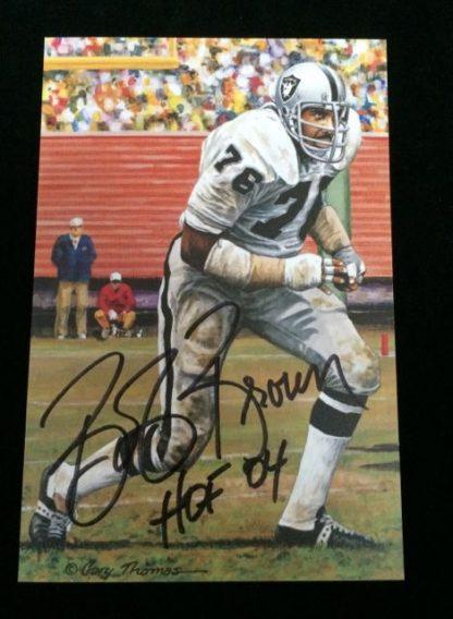 Oakland Raiders Bob Brown Autographed Photo Card