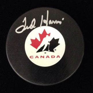 Team Canada Ted Harris Autographed Puck
